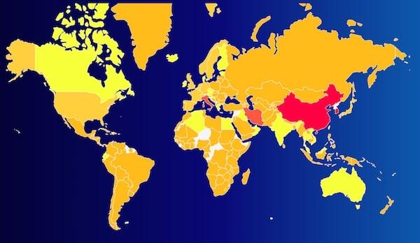 Coronavirus COVID-19 Mapa de propagación
